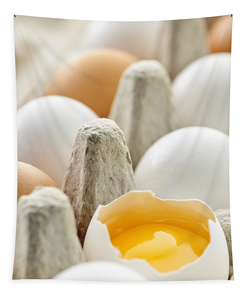 Eggs Tapestry featuring the photograph Eggs In Box by Elena Elisseeva
