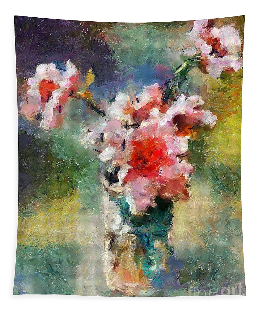 Stilllife Tapestry featuring the painting Eglantine From My Garden by Dragica Micki Fortuna