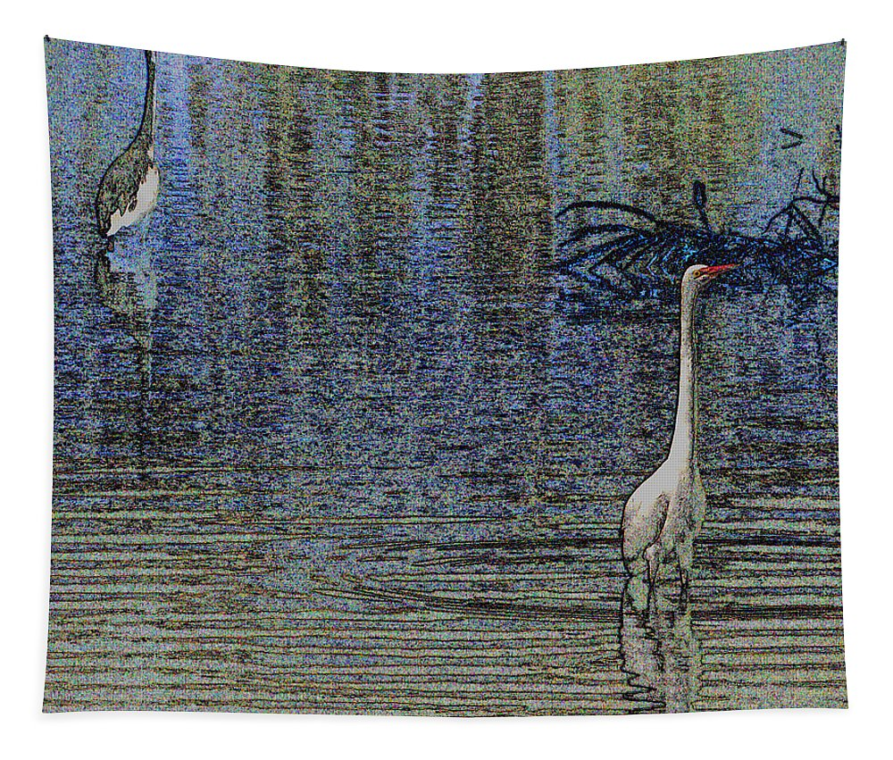 Egret And Heron Watching Tapestry featuring the photograph Egret And Heron Watching by Tom Janca