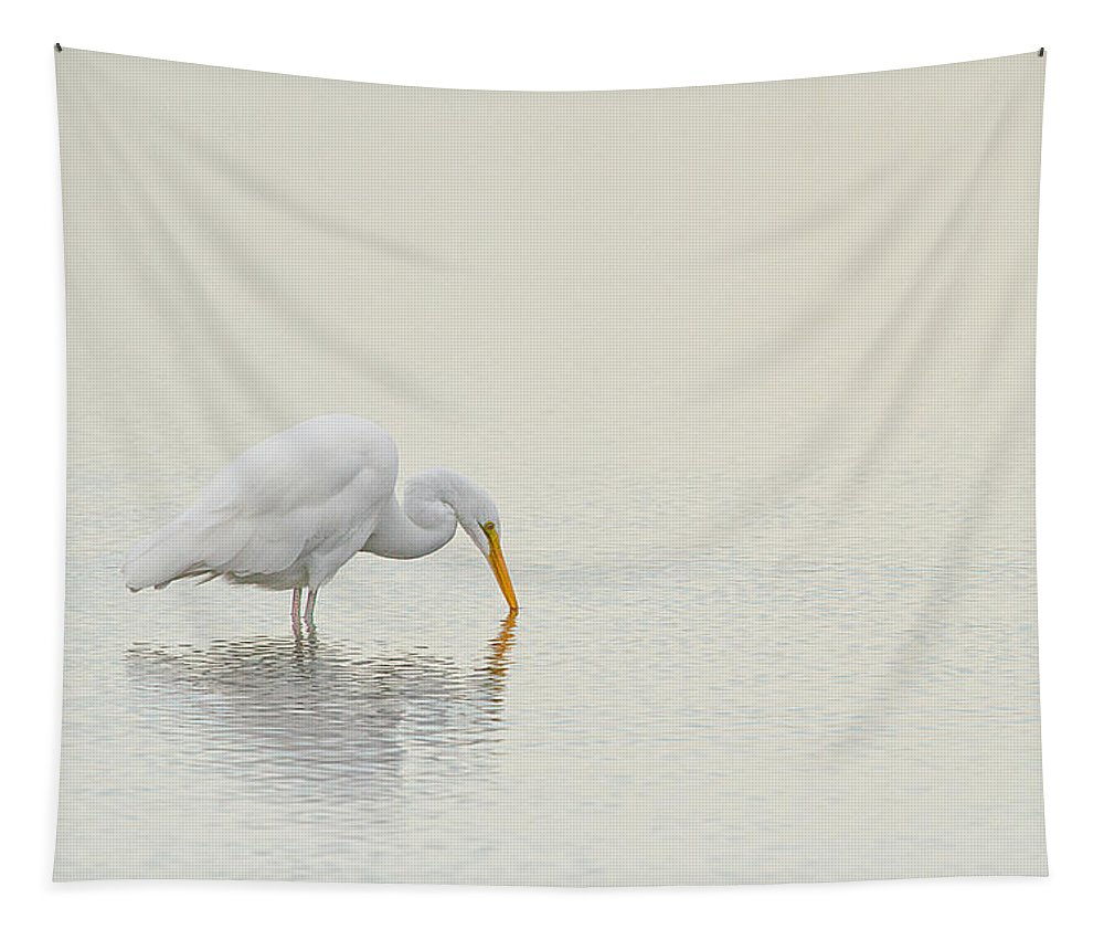 Great Egret Tapestry featuring the photograph Egret Finds Himself by Karol Livote
