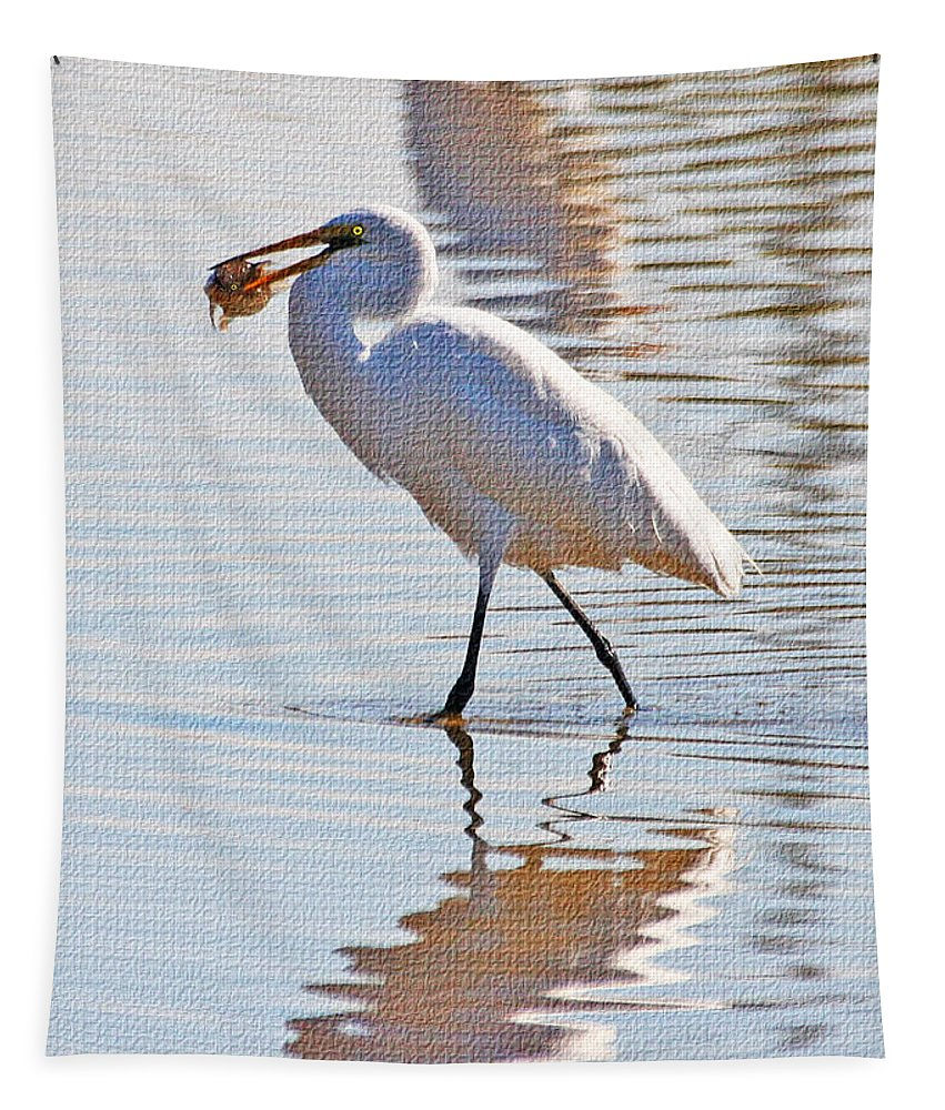 Egret Has Dinner Tapestry featuring the photograph Egret Has Dinner by Tom Janca