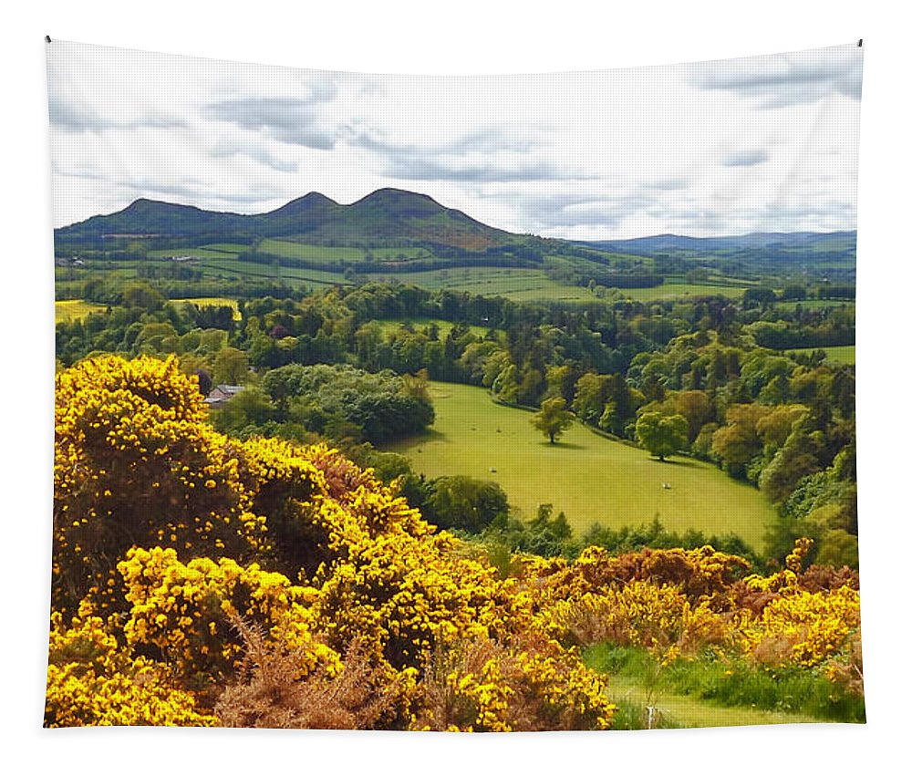 Eildon Hill Tapestry featuring the photograph Eildon Hill - Three Peaks And A Valley by Elena Perelman