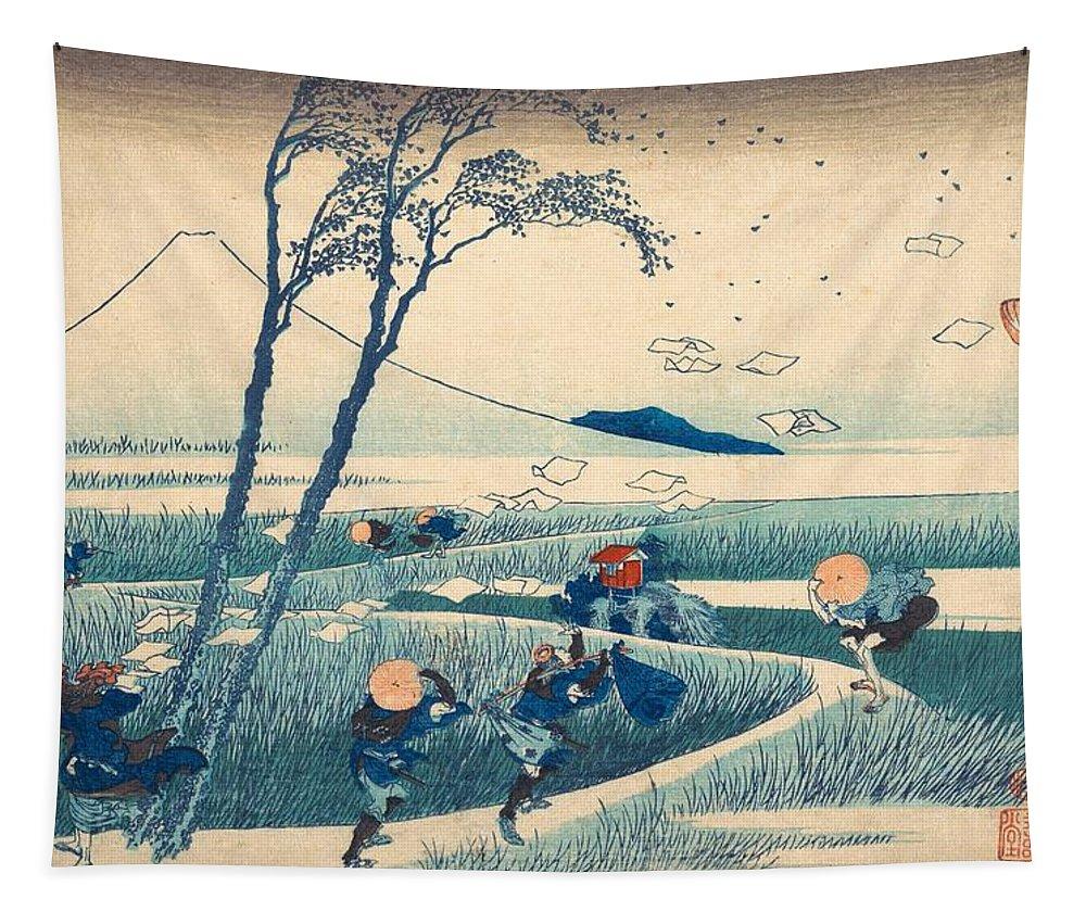 1830-1832 Tapestry featuring the painting Ejiri In Suruga Province by Katsushika Hokusai