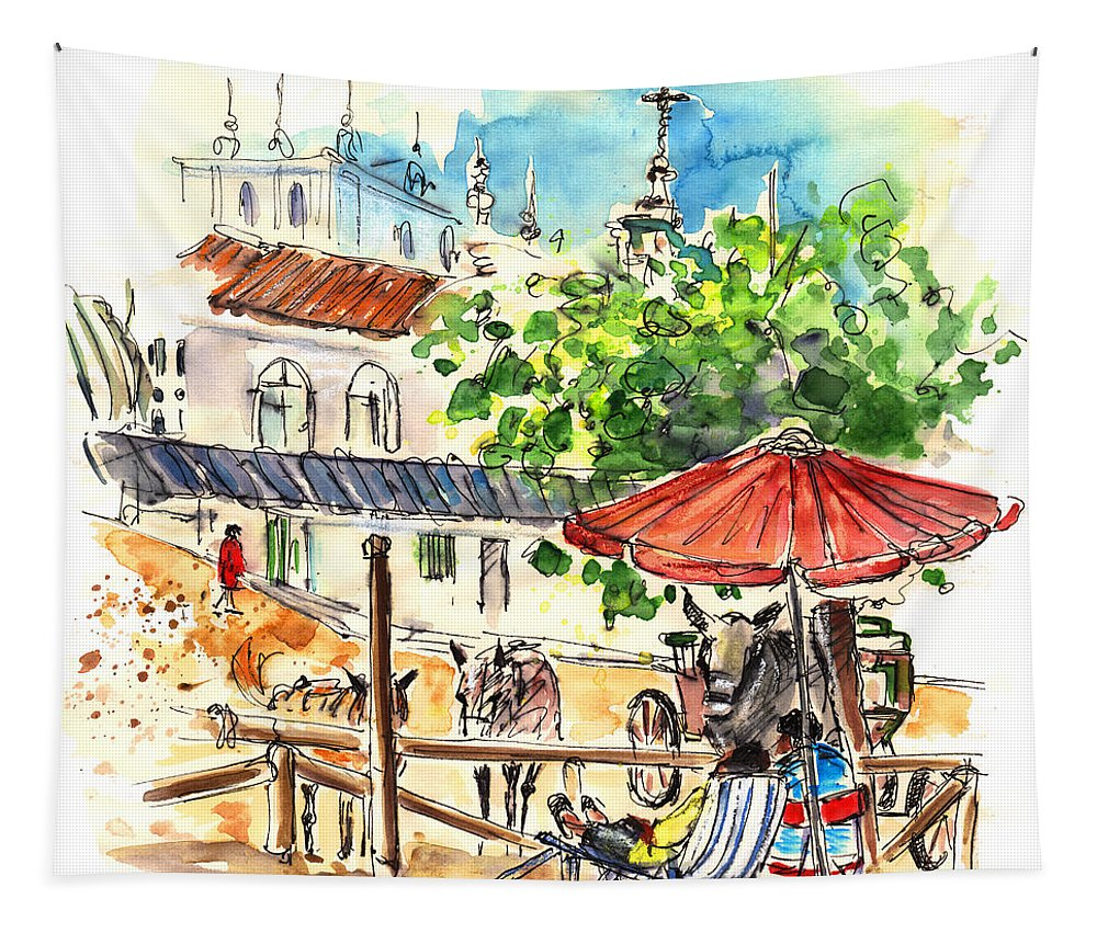 Travel Tapestry featuring the painting El Rocio 01 by Miki De Goodaboom