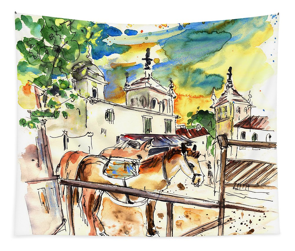Travel Tapestry featuring the painting El Rocio 02 by Miki De Goodaboom