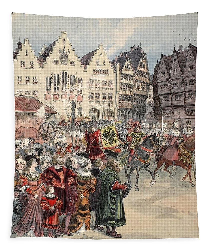 Ruler Tapestry featuring the drawing Election To The Empire The Procession by Albert Robida