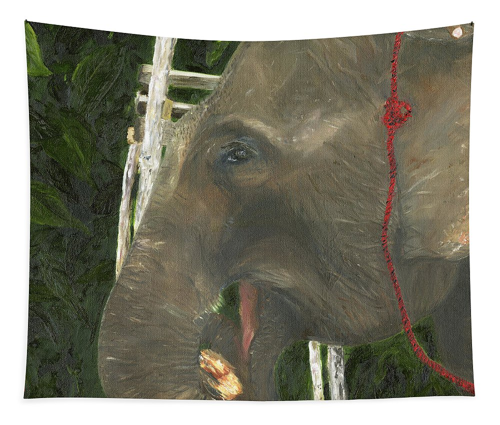 Elephant Tapestry featuring the painting Elephant Under His Thumb by Belinda Greb