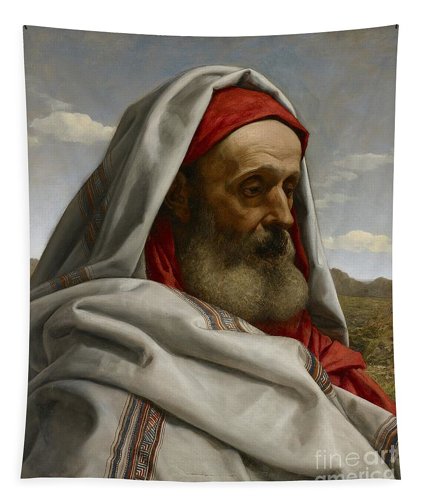 Eliezer Of Damascus; Syrian; Portrait; Male; Cloak; Beard; Head; Shoulders; Bust; Semi-profile; Biblical; Old Testament; Character; Painting;elderly; Old; Wizened; Steward; Portrait Tapestry featuring the painting Eliezer Of Damascus by William Dyce
