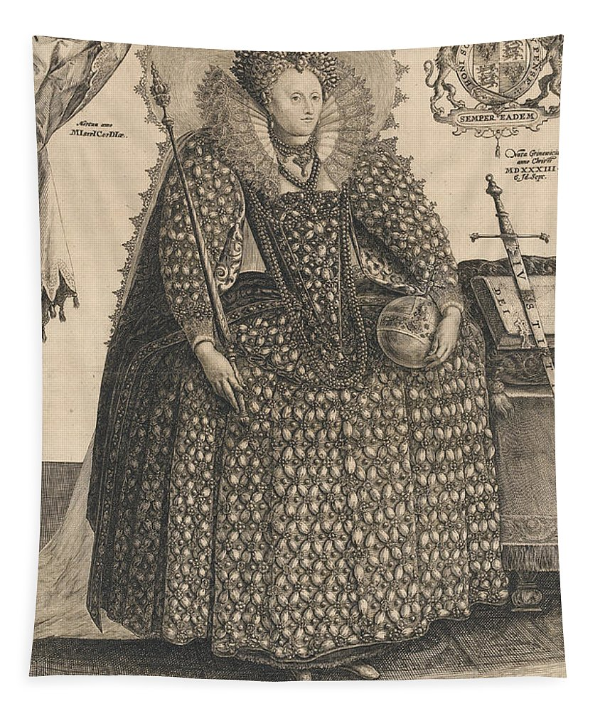 Female Tapestry featuring the drawing Elizabeth, Queen Of England, C.1603 by Crispin I de Passe