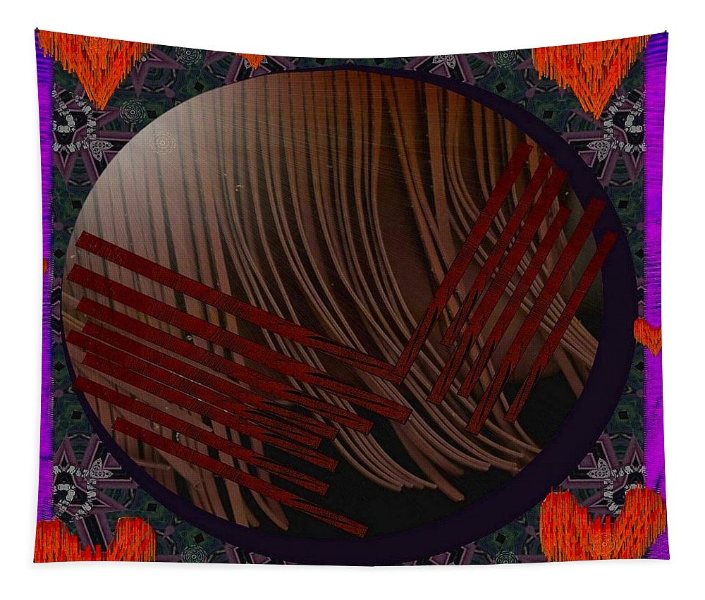 Leather Tapestry featuring the mixed media Embrace Our Earth With Love Pop Art by Pepita Selles