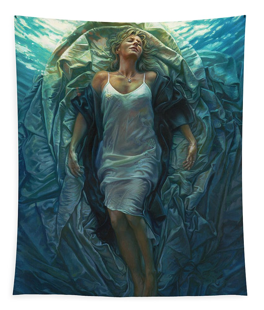 Conceptual Tapestry featuring the painting Emerge Painting by Mia Tavonatti