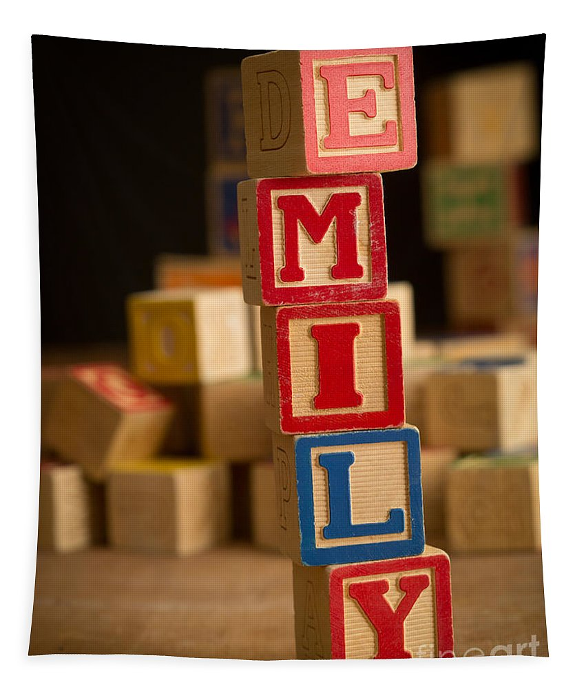 Alphabet Tapestry featuring the photograph Emily - Alphabet Blocks by Edward Fielding