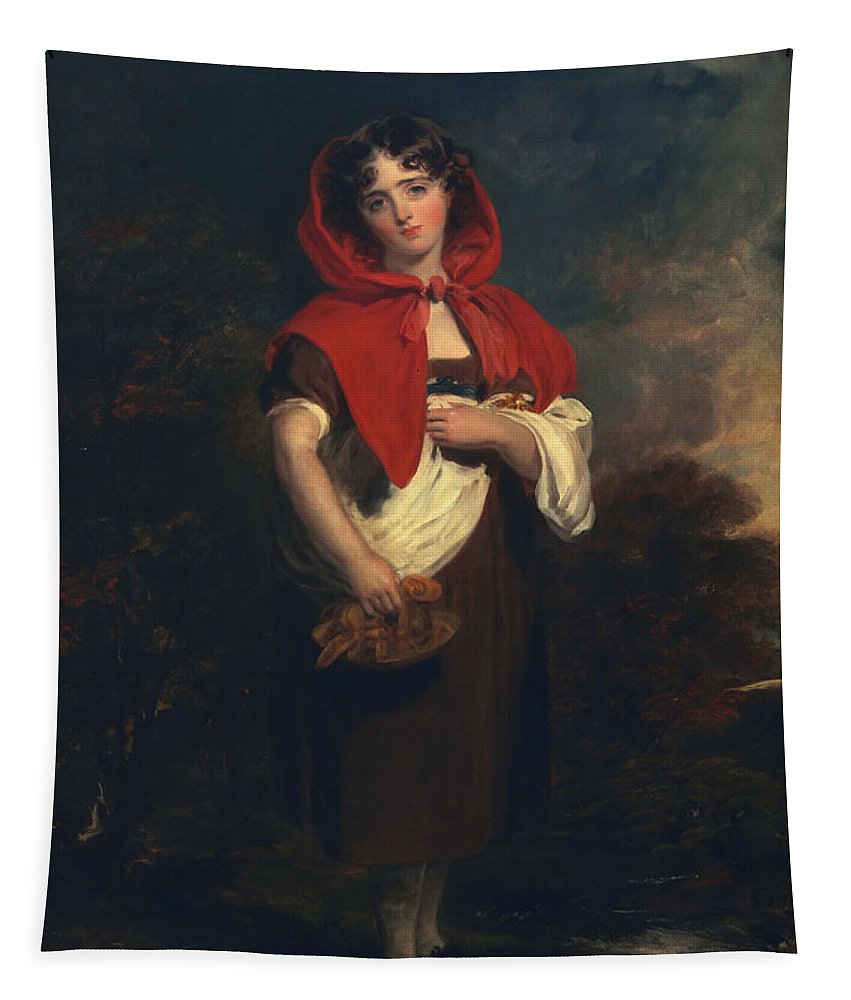 Female Tapestry featuring the painting Emily Anderson Little Red Riding Hood by Thomas Lawrence