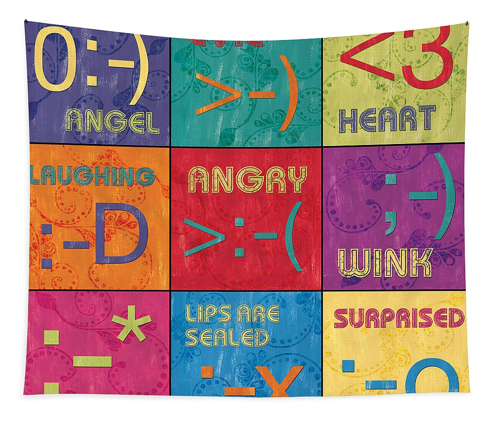Emoticons Tapestry featuring the painting Emoticons Patch by Debbie DeWitt