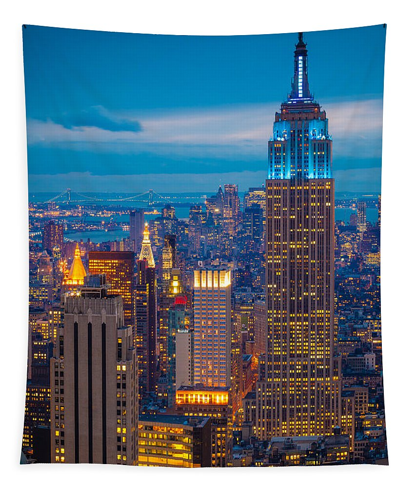 America Tapestry featuring the photograph Empire State Blue Night by Inge Johnsson