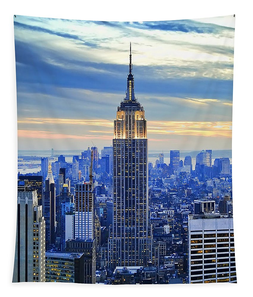 New York City Tapestry featuring the photograph Empire State Building New York City USA by Sabine Jacobs