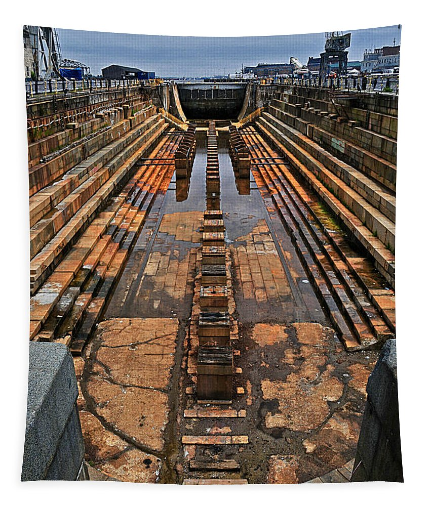 Navy Tapestry featuring the photograph Empty Dry Dock by Mike Martin