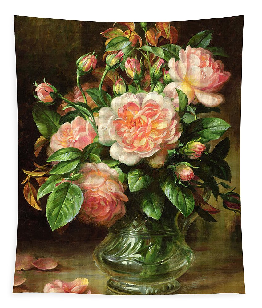 Rose Tapestry featuring the painting English Elegance Roses In A Glass by Albert Williams