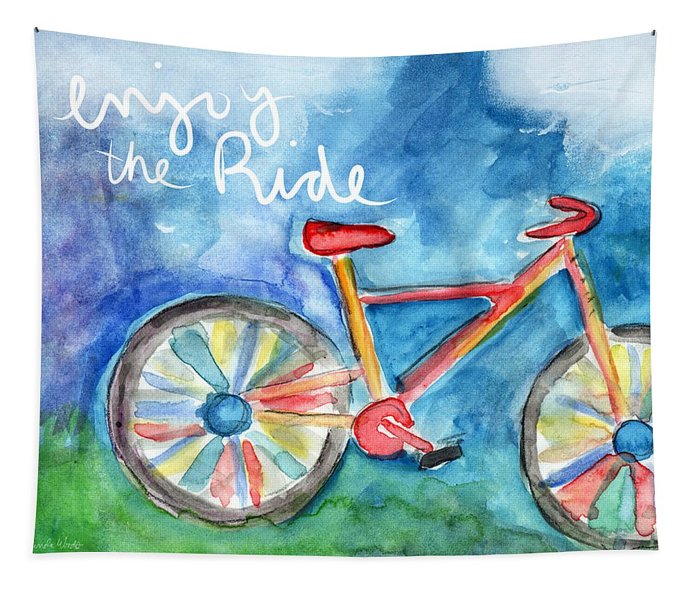 Bike Tapestry featuring the painting Enjoy The Ride- Colorful Bike Painting by Linda Woods