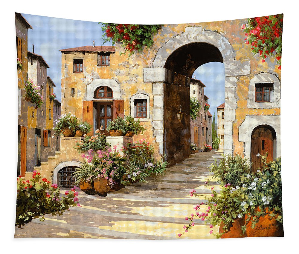 Cityscape Tapestry featuring the painting Entrata Al Borgo by Guido Borelli