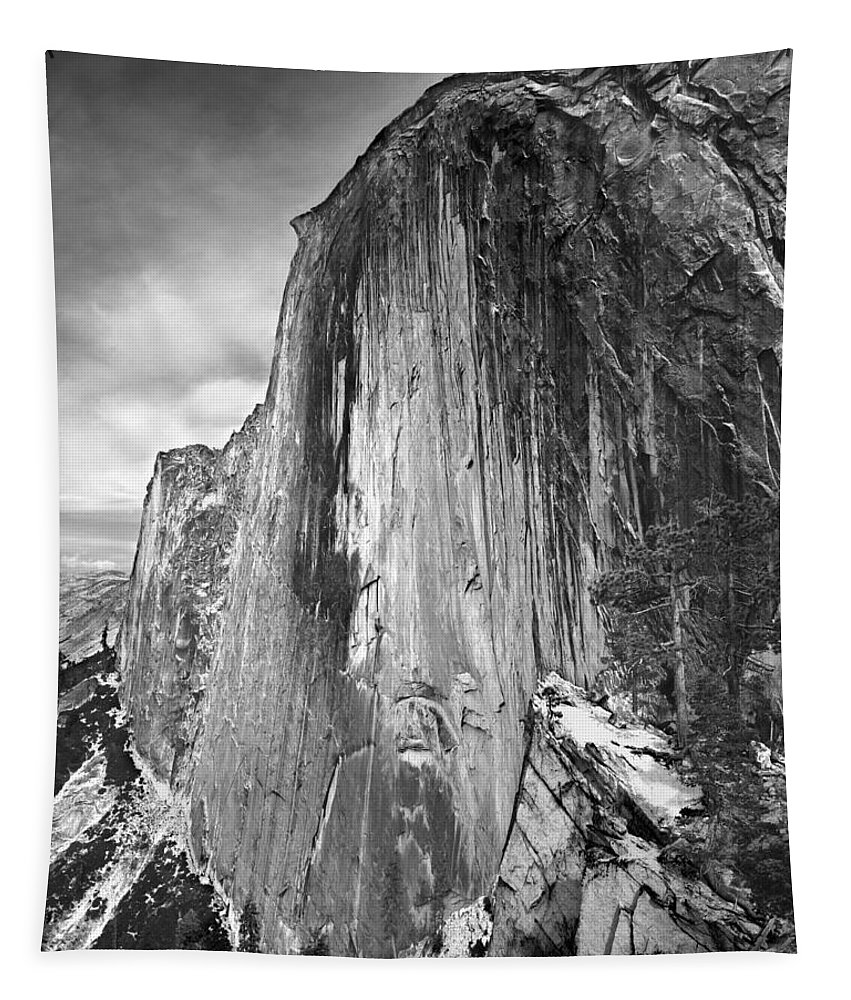 406716 Tapestry featuring the photograph 406716 Epic Bw Half Dome 1967 by Ed Cooper Photography