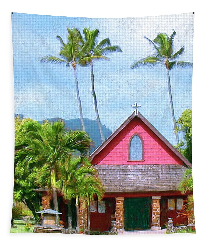 Hawaii Tapestry featuring the painting Episcopal Church In Kapaa by Dominic Piperata