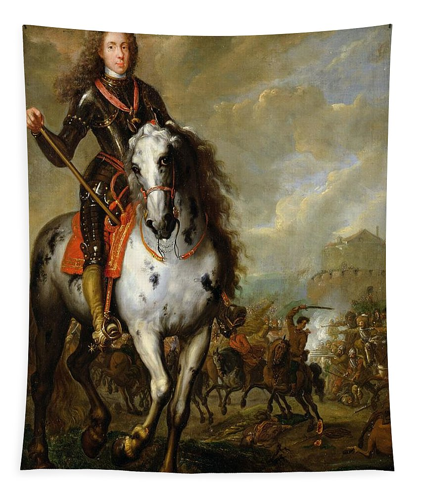 Male Tapestry featuring the photograph Equestrian Portrait Of Prince Eugene De Savoie 1663-1736 C.1700-10 Oil On Panel by Flemish School
