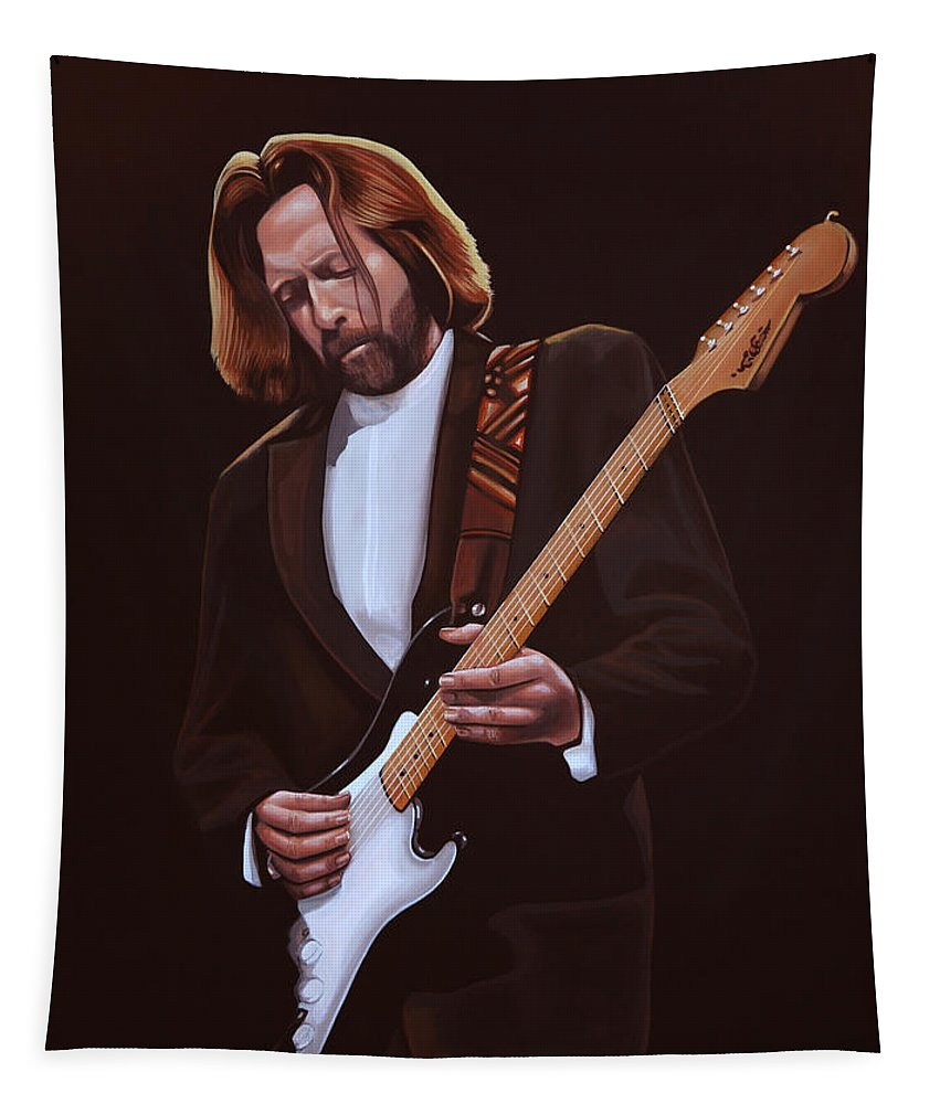 Eric Clapton Tapestry featuring the painting Eric Clapton Painting by Paul Meijering
