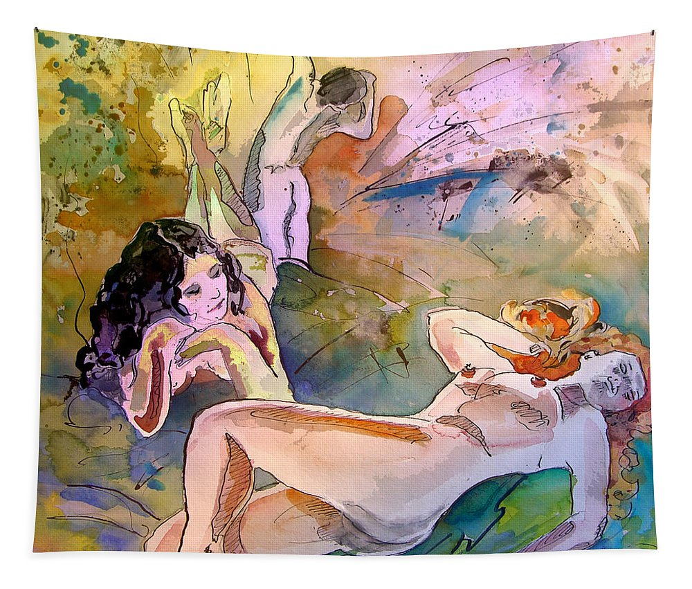 Erotic Tapestry featuring the painting Eroscape 1201 by Miki De Goodaboom