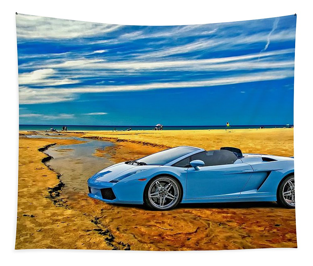 Lamborghini Tapestry featuring the photograph Escape Into Blue by Steve Harrington