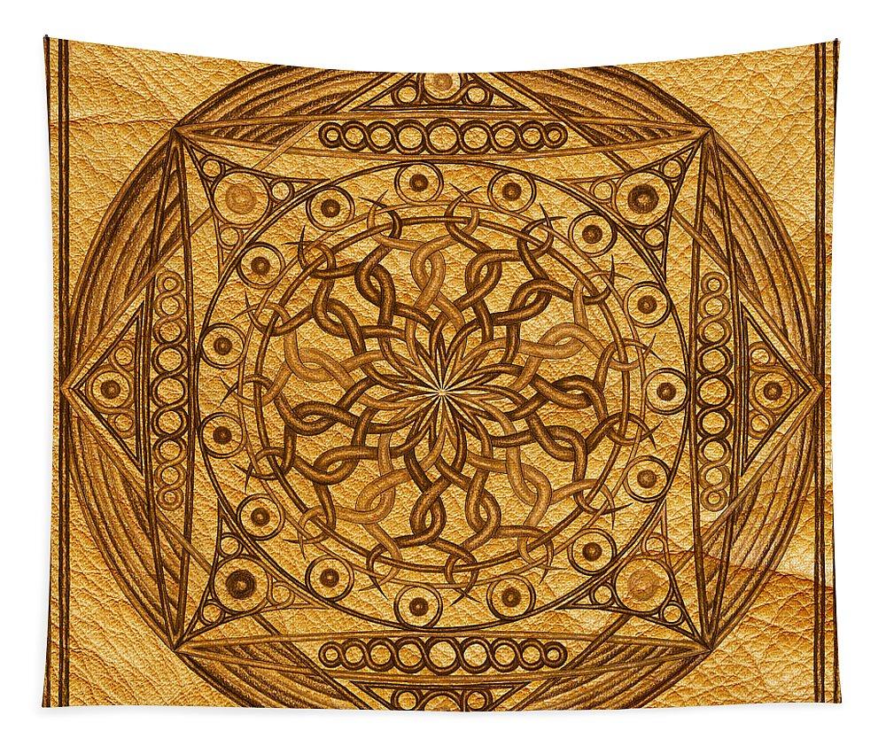 Mandala Tapestry featuring the digital art Eternity Mandala Leather by Hakon Soreide
