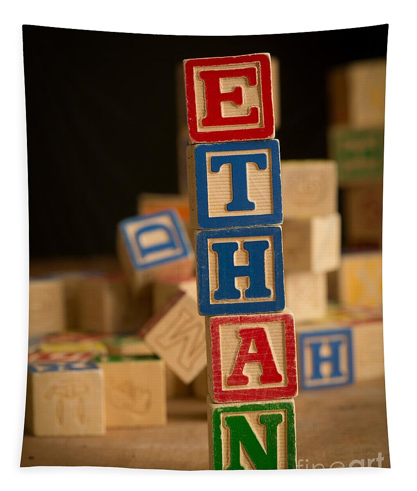 Alphabet Tapestry featuring the photograph Ethan - Alphabet Blocks by Edward Fielding
