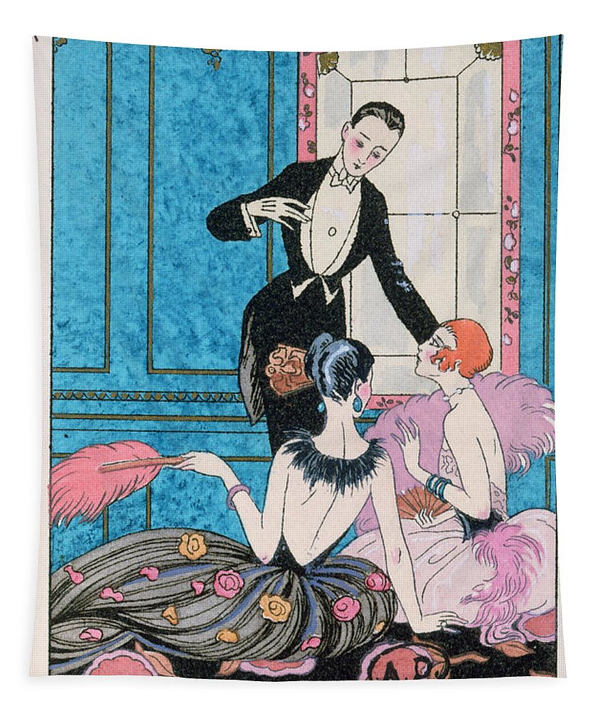 Male Tapestry featuring the painting 'europe' Illustration For A Calendar For 1921 by Georges Barbier