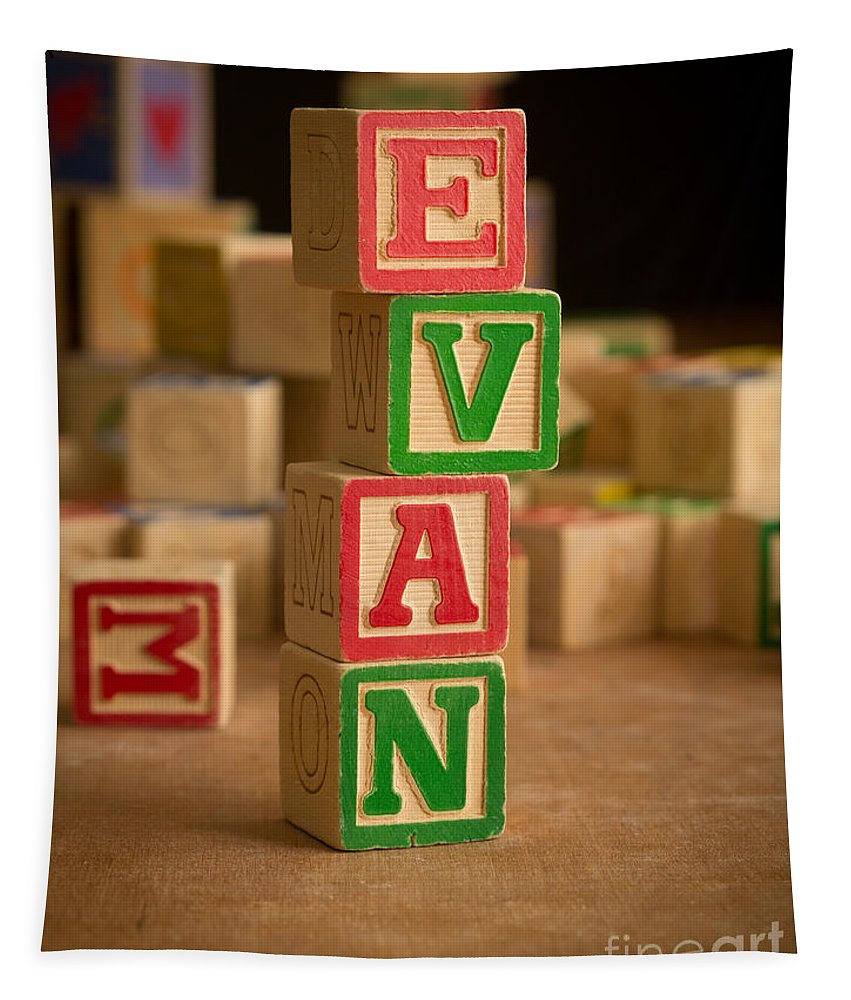 Alphabet Tapestry featuring the photograph Evan - Alphabet Blocks by Edward Fielding