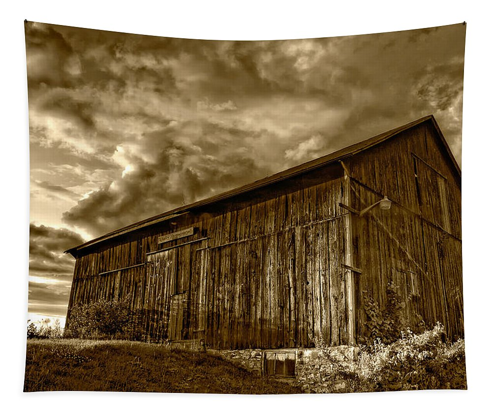 Rural Tapestry featuring the photograph Evening Barn Sepia by Steve Harrington