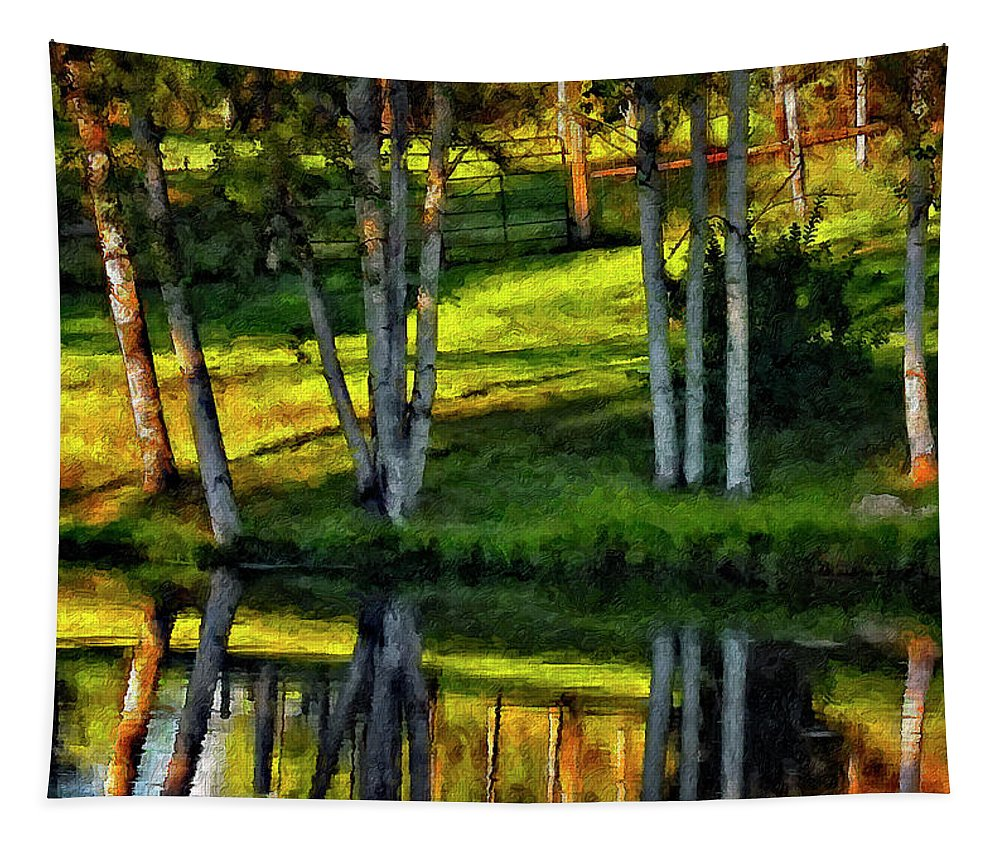 Evening Tapestry featuring the photograph Evening Birches Painted by Steve Harrington