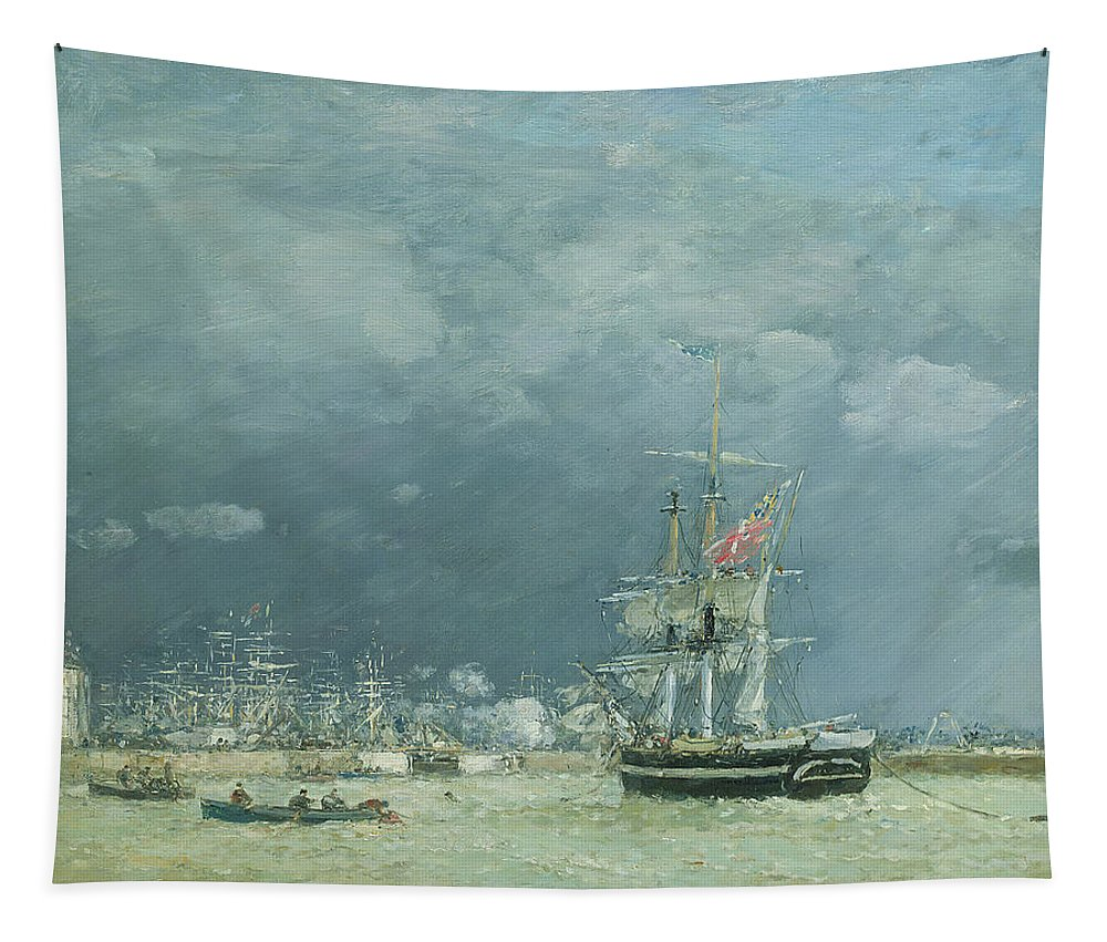 Port; Harbour; Night; Boats; Ship; Ships; Rowing; Sails; Flags; Seascape; Dusk Tapestry featuring the painting Evening Le Havre by Eugene Louis Boudin