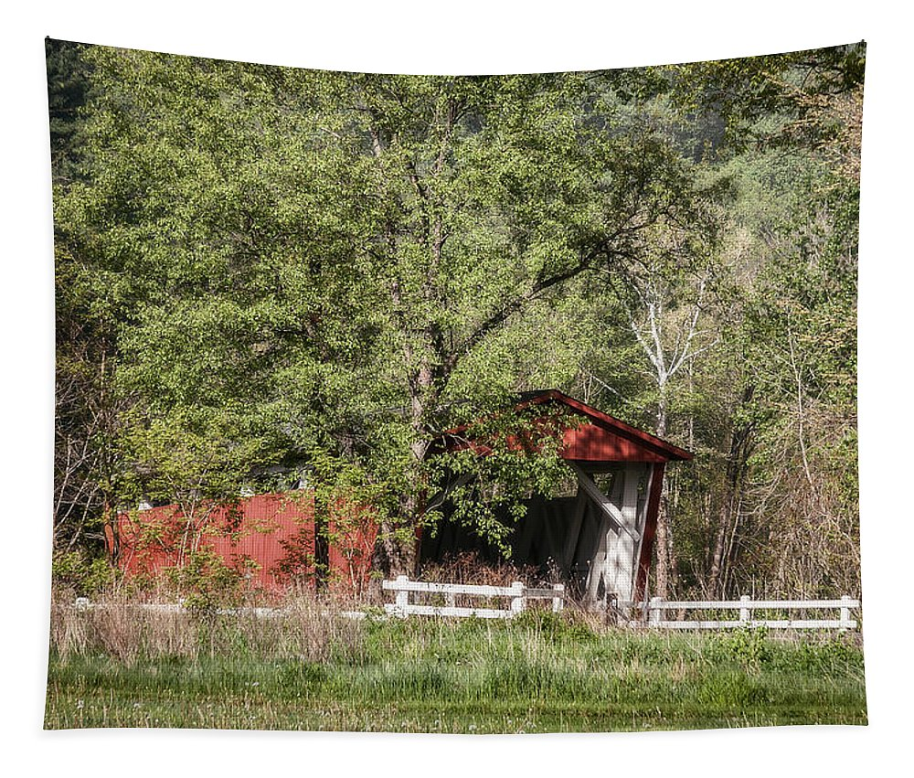 Everette Road Covered Bridge Tapestry featuring the photograph Everett Road Covered Bridge by Dale Kincaid