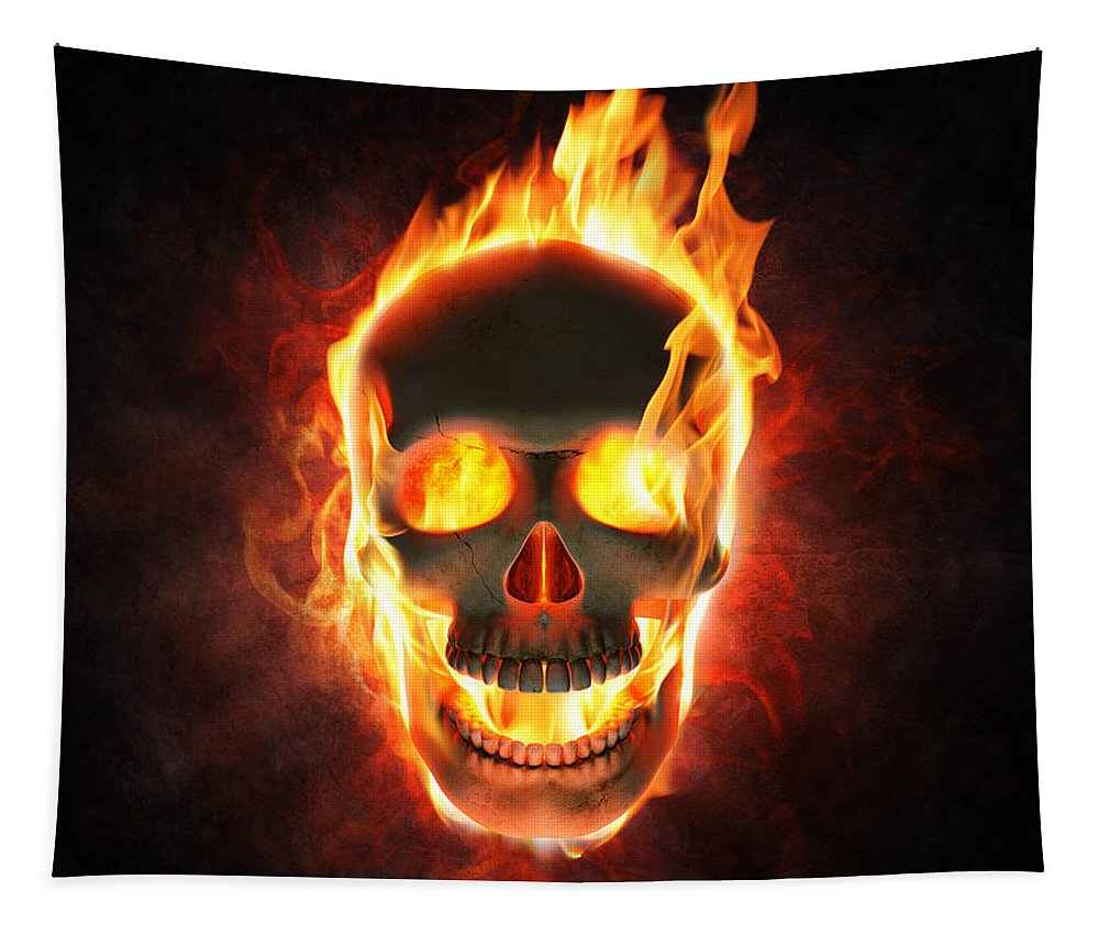 Skull Tapestry featuring the photograph Evil skull in flames and smoke by Johan Swanepoel
