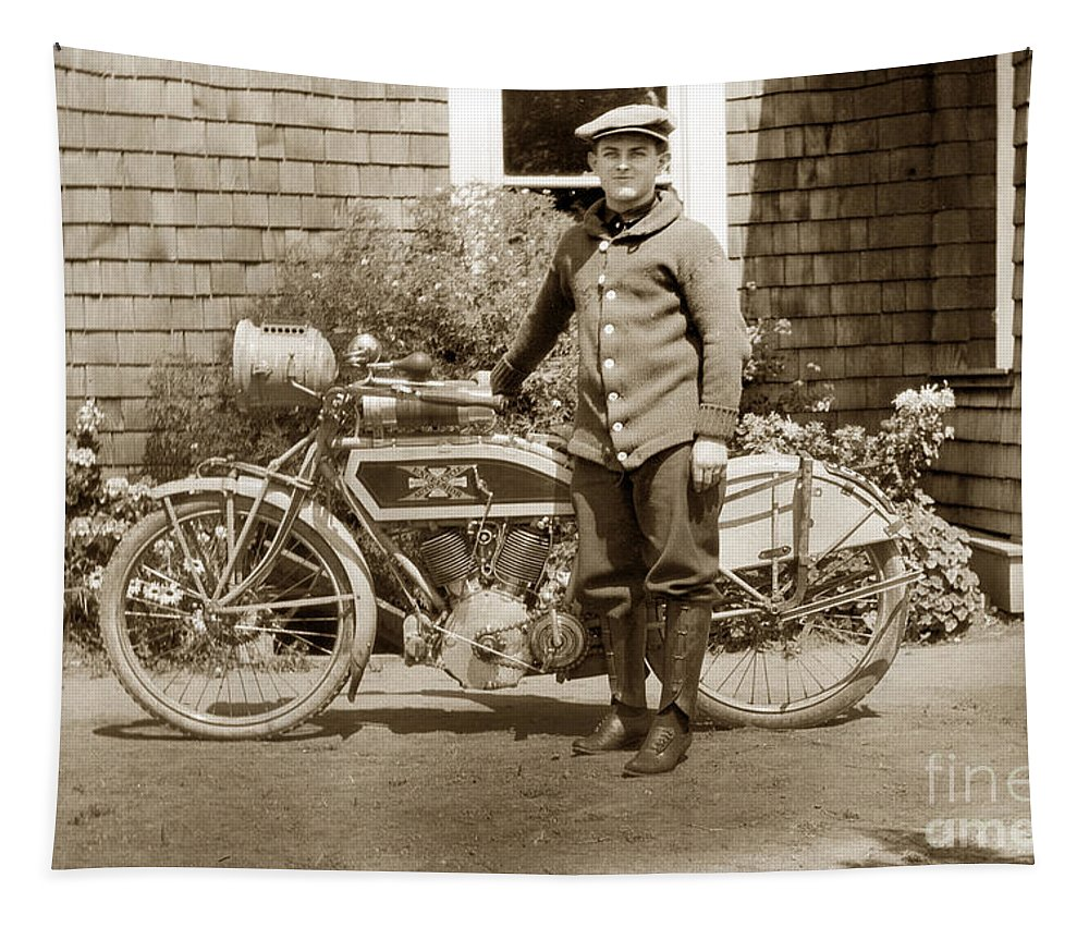 Excalibur Motorcycle Tapestry featuring the photograph Excalibur Motorcycle California Circa 1915 by California Views Archives Mr Pat Hathaway Archives