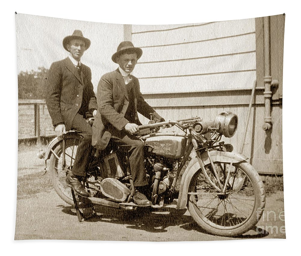 Excalibur Motorcycle Tapestry featuring the photograph Excalibur Motorcycle Circa 1920 by California Views Archives Mr Pat Hathaway Archives