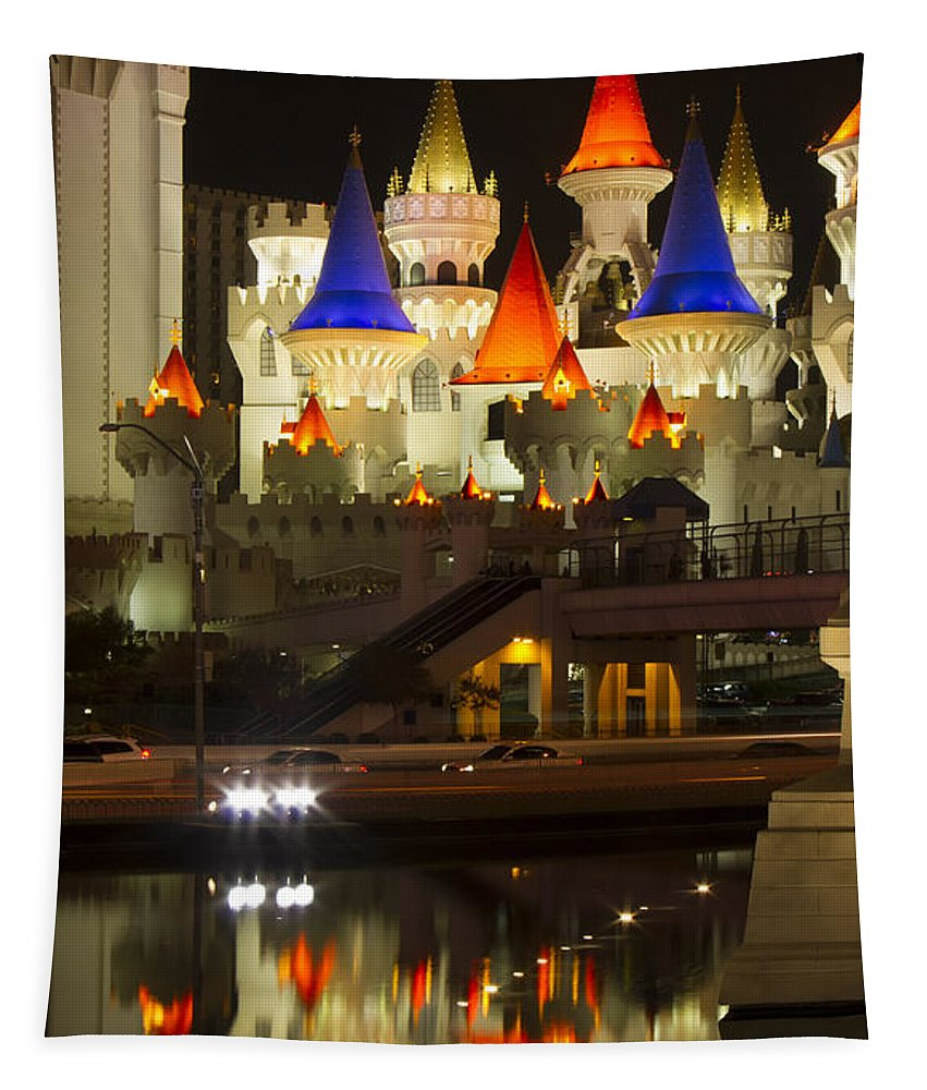 Excalibur Tapestry featuring the photograph Excalibur Reflection by Debby Richards