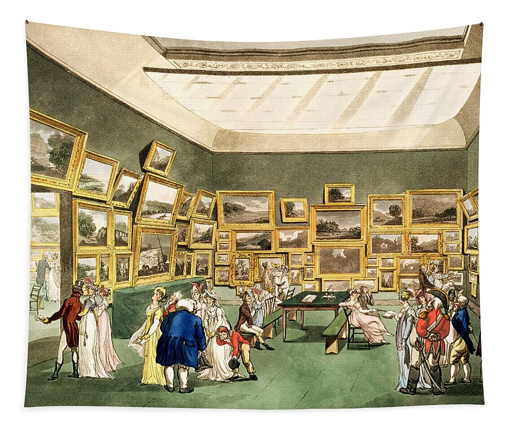 Gallery Tapestry featuring the drawing Exhibition Of Watercoloured Drawings by T and Pugin and AC Rowlandson