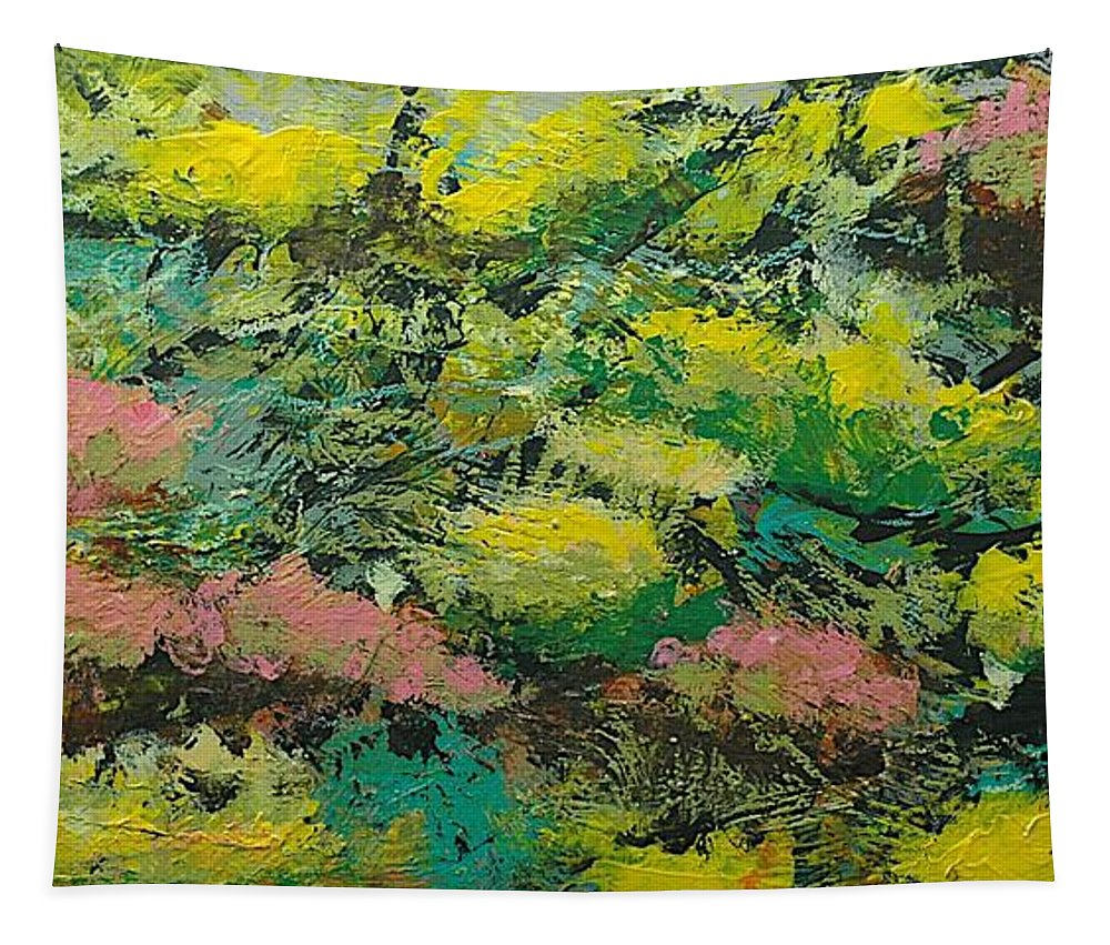 Landscape Tapestry featuring the painting Extract by Allan P Friedlander