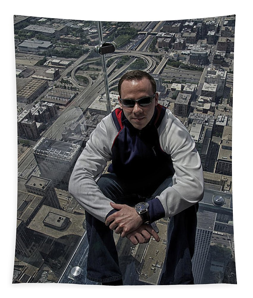 Cities Tapestry featuring the photograph Eyes Down From The 103rd Floor Just Sitting Around by Thomas Woolworth