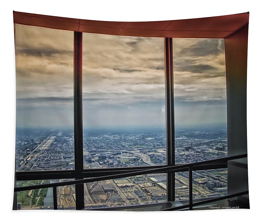 Cities Tapestry featuring the photograph Eyes Down From The 103rd Floor Looking South by Thomas Woolworth