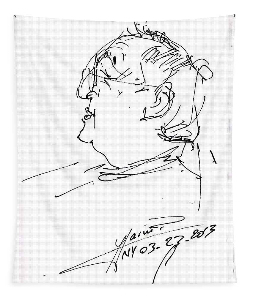 Fabio Tapestry featuring the drawing Fabio by Ylli Haruni