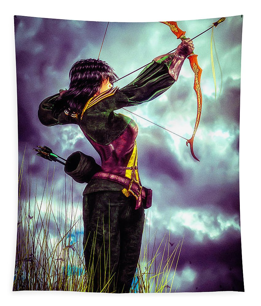 Archer Tapestry featuring the digital art Fair Warning by Bob Orsillo