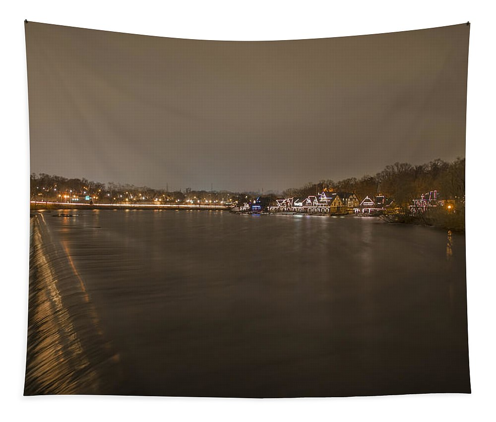 Fairmount Tapestry featuring the photograph Fairmount Dam At Night by Bill Cannon