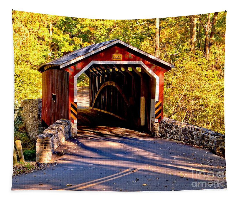 American Tapestry featuring the photograph Fall At Kurtzs Mill Covered Bridge by Nick Zelinsky